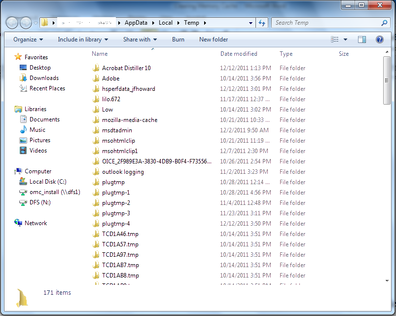 empty temp folder windows 7