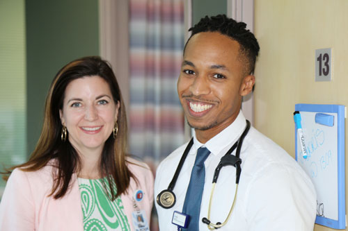 Dr. Mari Ricker and Dr. Nathaniel Harris, a Family Medicine resident